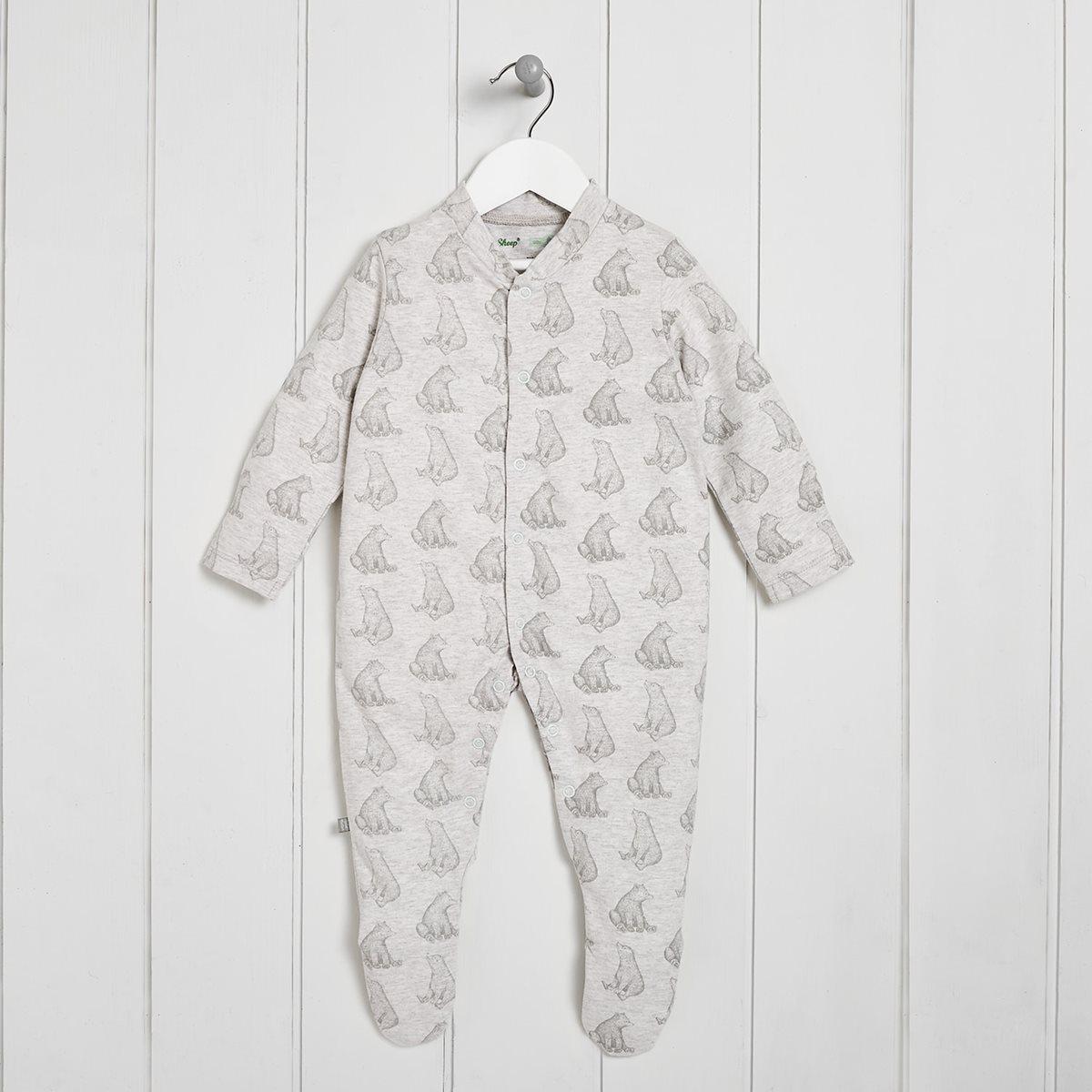 100 Organic Baby Sleepsuit With Bear Print