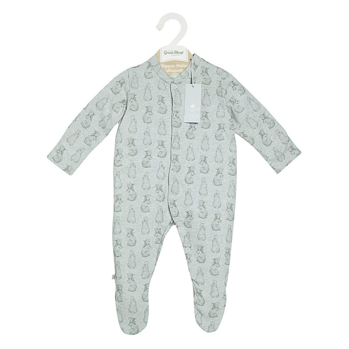 8576dc01536d 100% Organic Baby Sleepsuit with Rabbit Print