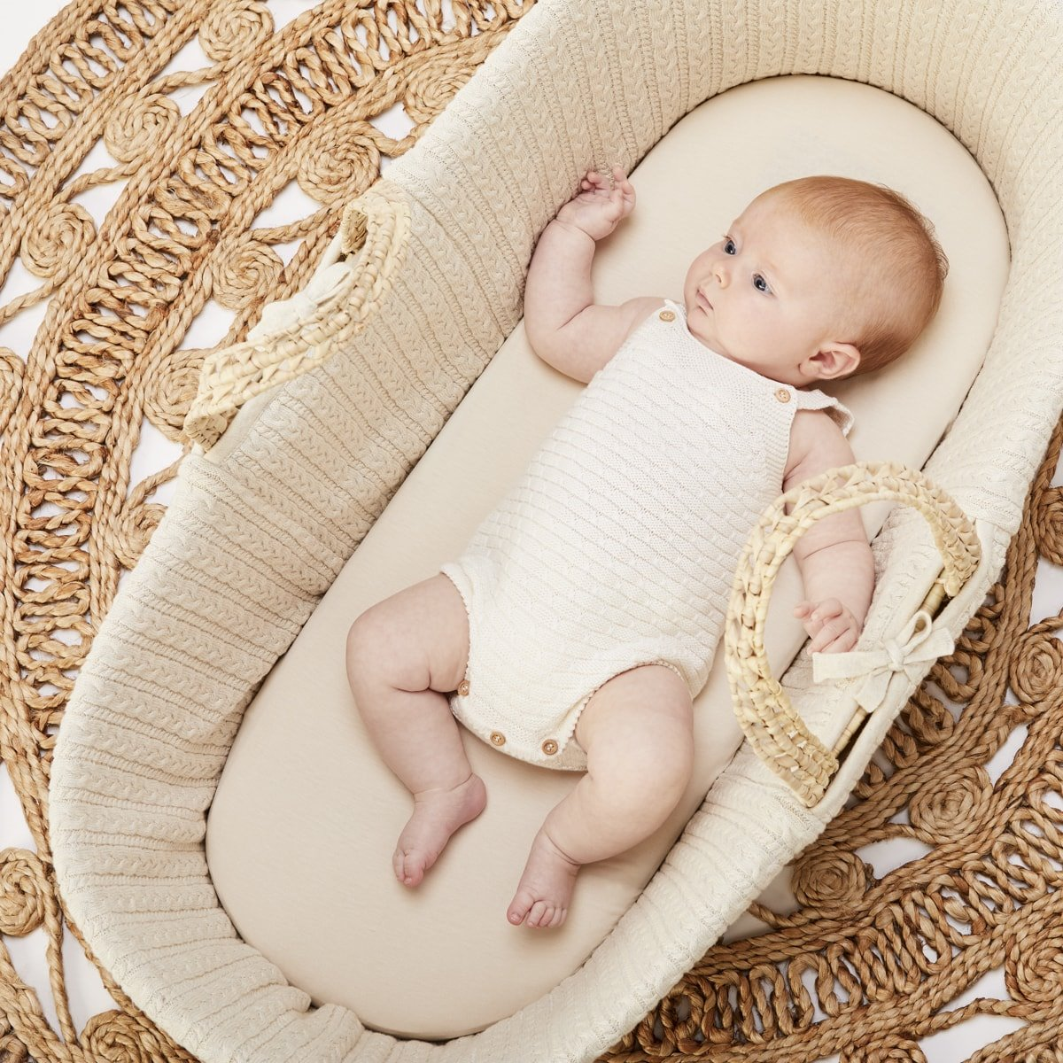 Natural Knitted Moses Basket in Linen | Moses Baskets ...
