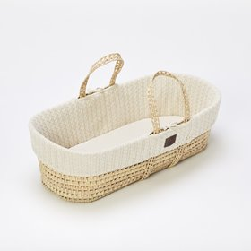 Natural Knitted Moses Basket & Mattress - Linen