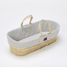 Natural Knitted Moses Basket & Mattress - Dove