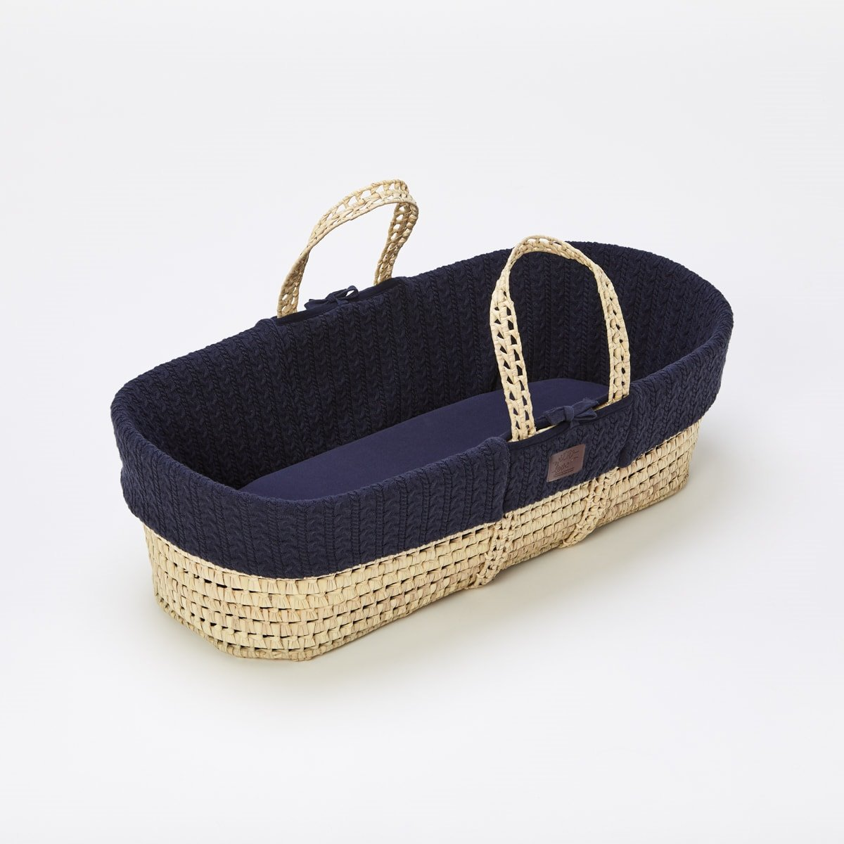 more photos b27f6 89e8e Natural Knitted Moses Basket & Mattress - Midnight