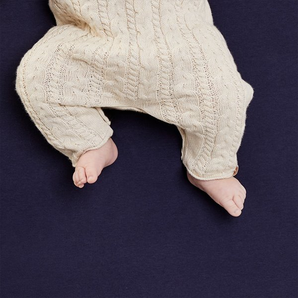 Organic Knitted Baby Romper - Linen