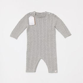 Organic Knitted Baby Romper - Dove