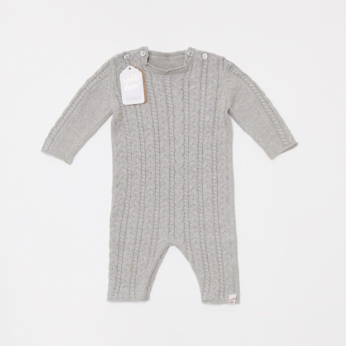 7da0b9339b0a Organic Knitted Baby Romper - Dove
