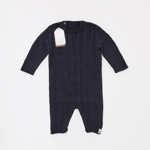 Organic Knitted Baby Romper - Midnight