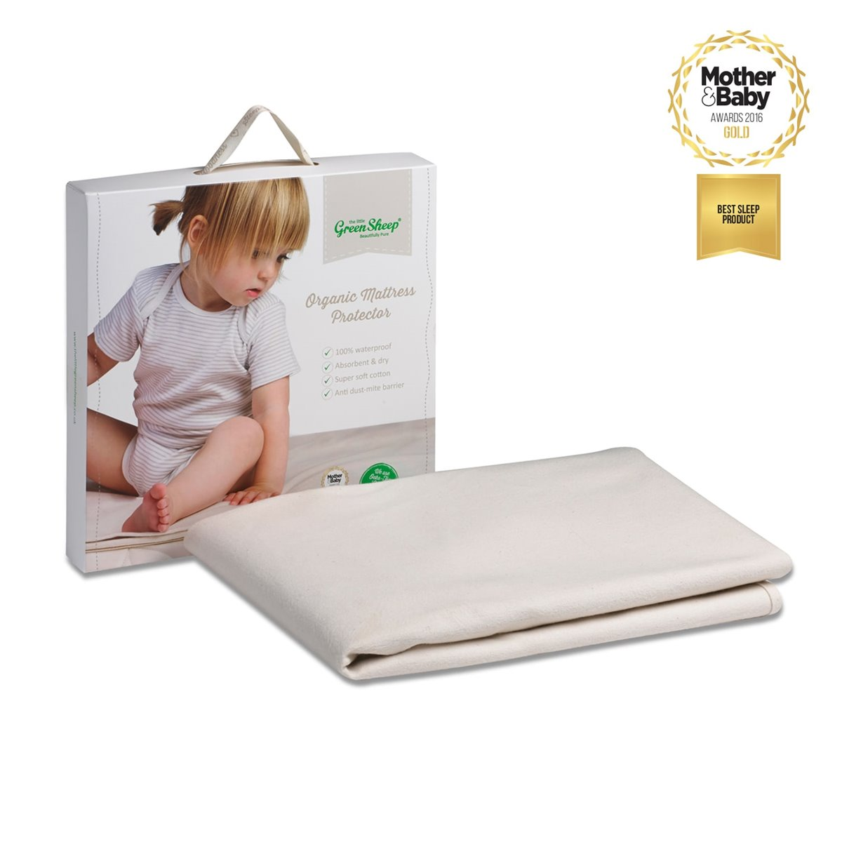 organic cot bed mattress protector 70x140cm - the little green sheep
