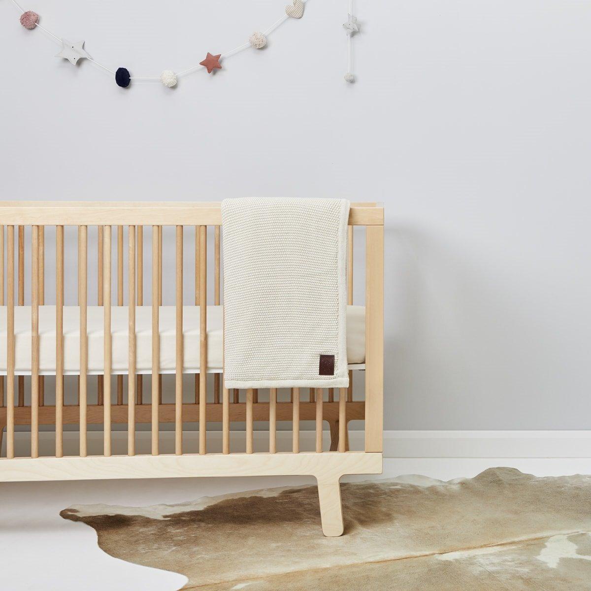 118c83b29 Organic Knitted Fleece Baby Blanket - Linen