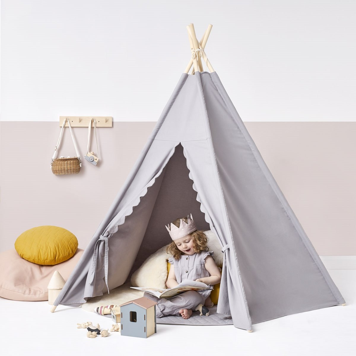 sports shoes 56b04 1c81d Kids Teepee Play Tent - Grey