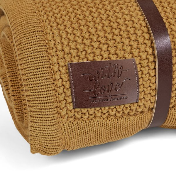 Organic Knitted Fleece Baby Blanket - Honey