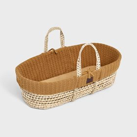 Natural Knitted Moses Basket & Mattress - Honey
