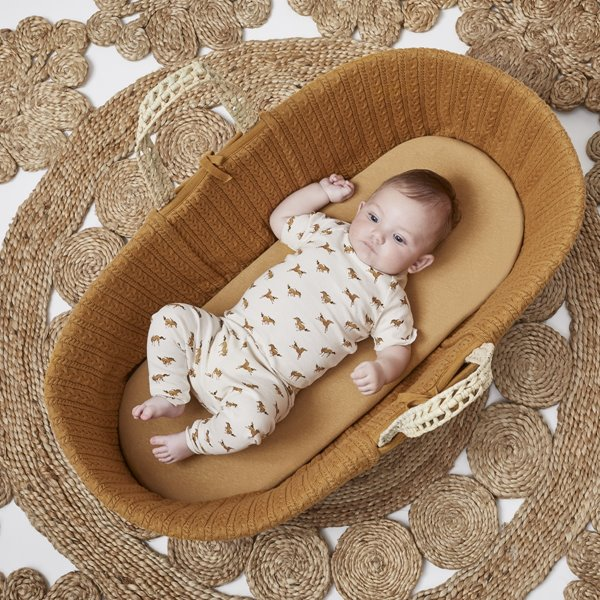 Organic Moses Basket Fitted Sheet - Honey