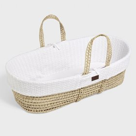 Natural Knitted Moses Basket & Mattress - White