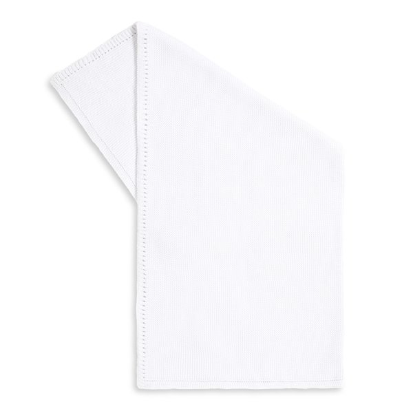 Organic Knitted Cellular Baby Blanket - White
