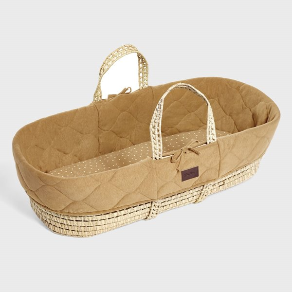 Natural Quilted Moses Basket & Mattress - Honey