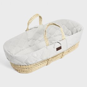 Natural Quilted Moses Basket & Mattress - Dove