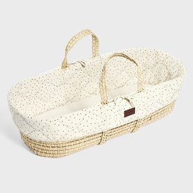 Natural Quilted Moses Basket & Mattress - Linen Rice