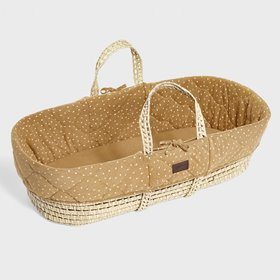 Natural Quilted Moses Basket & Mattress - Honey Rice