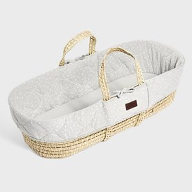 Natural Quilted Moses Basket & Mattress - Dove Rice
