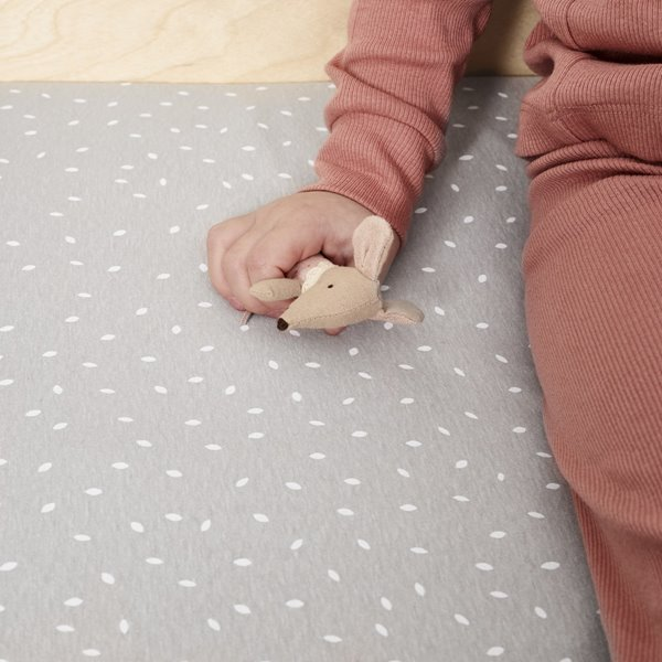 Organic Cot & Cot Bed Fitted Sheet - Dove Rice