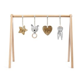 Wooden Baby Play Gym & Charms Set  - Bear Love