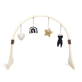 Curved Wooden Baby Play Gym & Charms Set - Rainbow Midnight