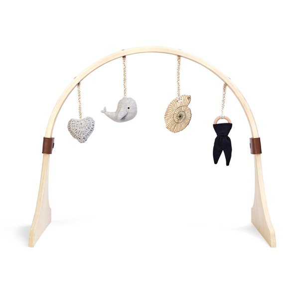 Curved Wooden Baby Play Gym & Charms Set - Ocean Whale